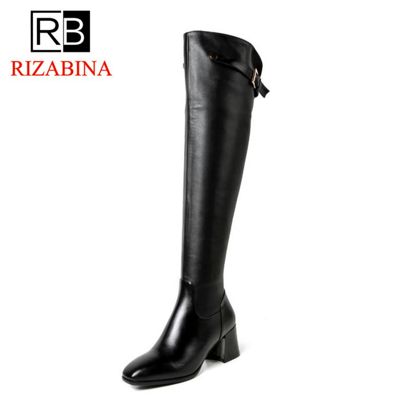 Women Real Genuine Leather Square Low Heel Over Knee Boots Woman Square Toe Warm Winter Shoes Heeled Footwear Size 34-39 women real genuine leather pointed toe square high heel shoes woman sexy fashion leisure ladies heeled shoes size 34 39 r7159