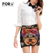 FORUDESIGNS Cute Puppy Yorkshire Terrier Printing Women Mini Skirts Ladies Funny Design Beach for Females Kawaii Bottoms