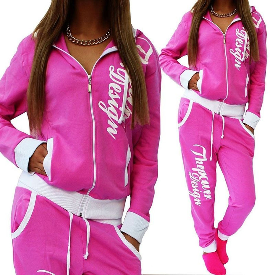 Zogaa 2018 Autumn 2 Piece Set Women Tracksuit Sportswear Casual White Gray Pink Sweat Pants Hooded Cropped Sweatshirt Hoodies
