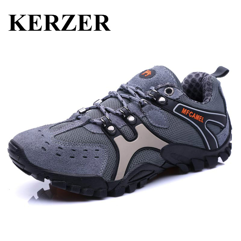 KERZER Hiking Shoes For Man Anti-Slip Mens Outdoor Shoes Shockproof Climbing Sneakers Men Breathable Mountain Climbing Trainers