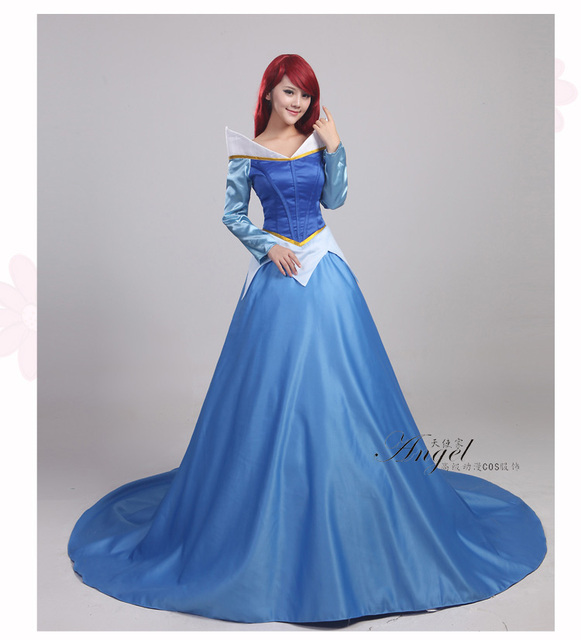 La Bella Addormentata Aurora Blu Pricess Dress Ragazze Donne Cosplay