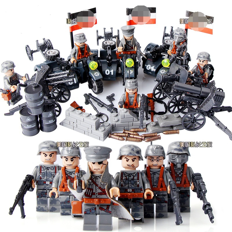 WW2 LegoINGlys German Blitzkrieg Motorized Infantry Regiment World War Army soldiers Weapons Guns Military Building Blocks trendy pu leather pouch bag for cell phone gadgets black