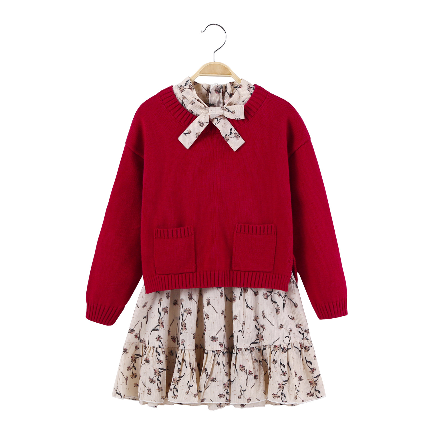 Girls Long Sleeve Dress Two-piece Sets Age 4 5 6 7 8 9 10 years Princess Baby Girls Dress Winter Children Dress underwire two piece flounce corset dress