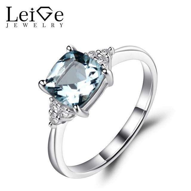 Leige Jewelry Aquamarine Engagement Ring Silver 925 Wedding Ring