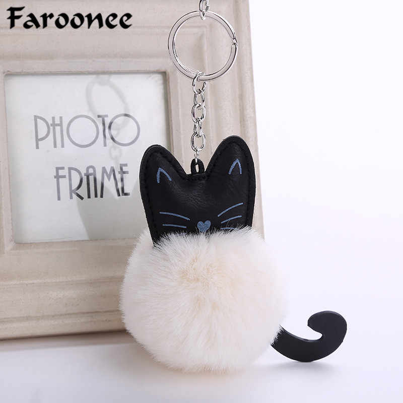 Lovely Cat Shaped Pompom Key Chain Fluffy Fur Ball Soft Animal Tail Key Rings Women Cartoon Bag Pendants Gifts Llaveros Trinket