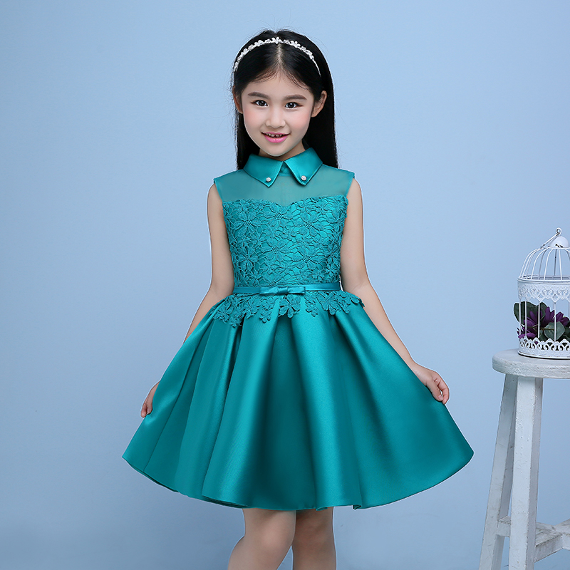 Elegant princess dress ball gown flower girl dresses appliques sleeveless high collar girls pageant dress for wedding birthday 2017 new flower lace girls dress princess dresses solid wedding dress girl clothing sleeveless ball gown girl costume kids ds003