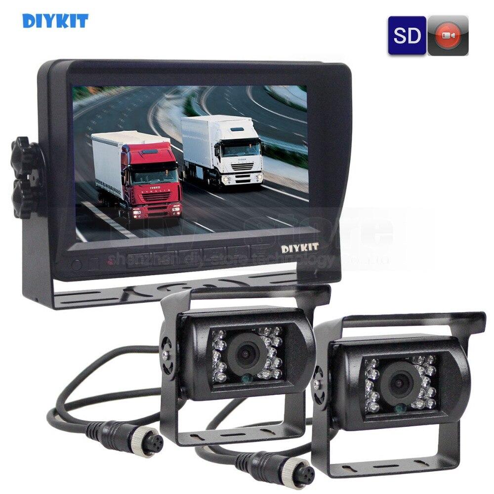 DIYKIT AHD 7 pollici TFT LCD Car Monitor Monitor di Retrovisione Impermeabile di IR 1300000 Pixel Fotocamera Con Registrazione Video AHD 1V2
