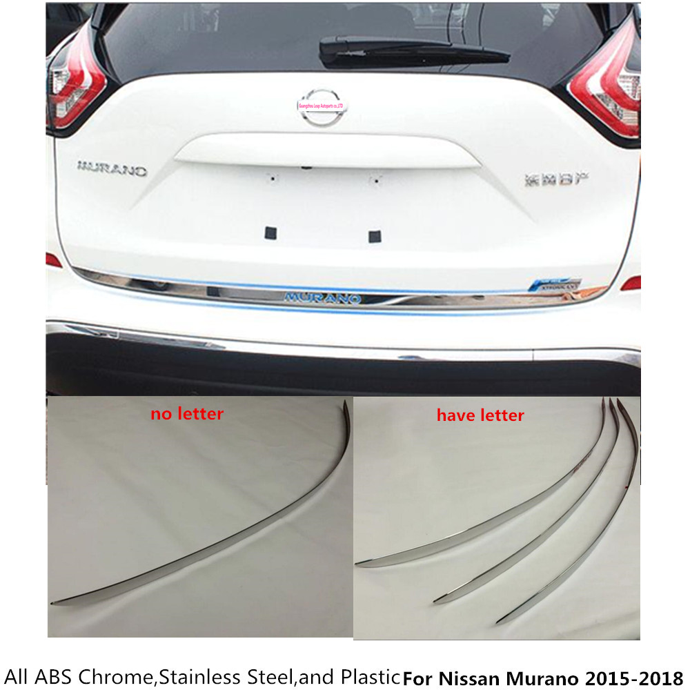 For Nissan Murano 2015 2016 2017 2018 car style stainless steel Rear door tailgate bumper frame plate trim lamp trunk Lid 1pcs for nissan murano 2015 2016 for left handed driving inner car window device panels side door armrest decorative frame trim 4pcs