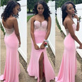 Custom Size Charming 2016 New Sexy Split Pink Beaded Mermaid Evening Dress dress Formal Gown robe de soiree vestido de festa