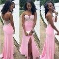 Tamaño personalizado con encanto 2016 nueva Sexy dividir moldeado rosado de la sirena del vestido de noche vestido vestido Formal del traje de soirée vestido de festa