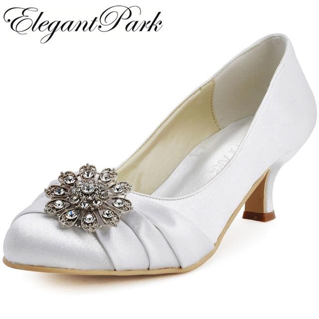 f4ff174ee40c Woman Round Toe Ivory Mid Heels Rhinestones Stain Bride Pumps Bridesmaid Wedding  Evening Prom Bridal Pumps EP2015 White Blue