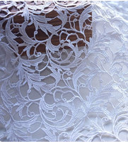 Off White Venice Lace Fabric Antique Crocheted Floral Lace Bridal Gown Dress Fabric