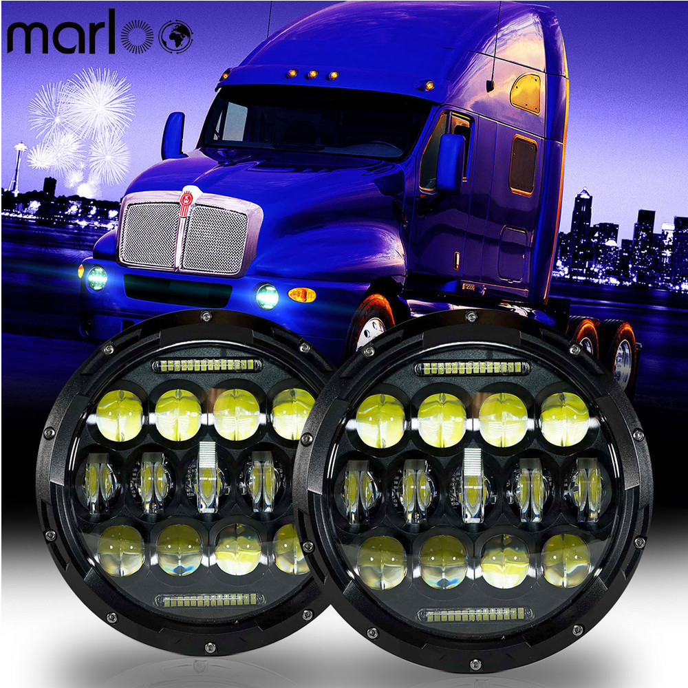 Marloo 2 Pcs Headlights For Kenworth T2000 T-2000 1998-2010 Tractor Trailer Truck Lamps 7 75W Round LED Headlight