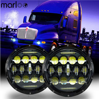 Marloo 2 Pcs 7 75W Round LED Headlights For Jeep Wrangler And Kenworth T2000 T 2000