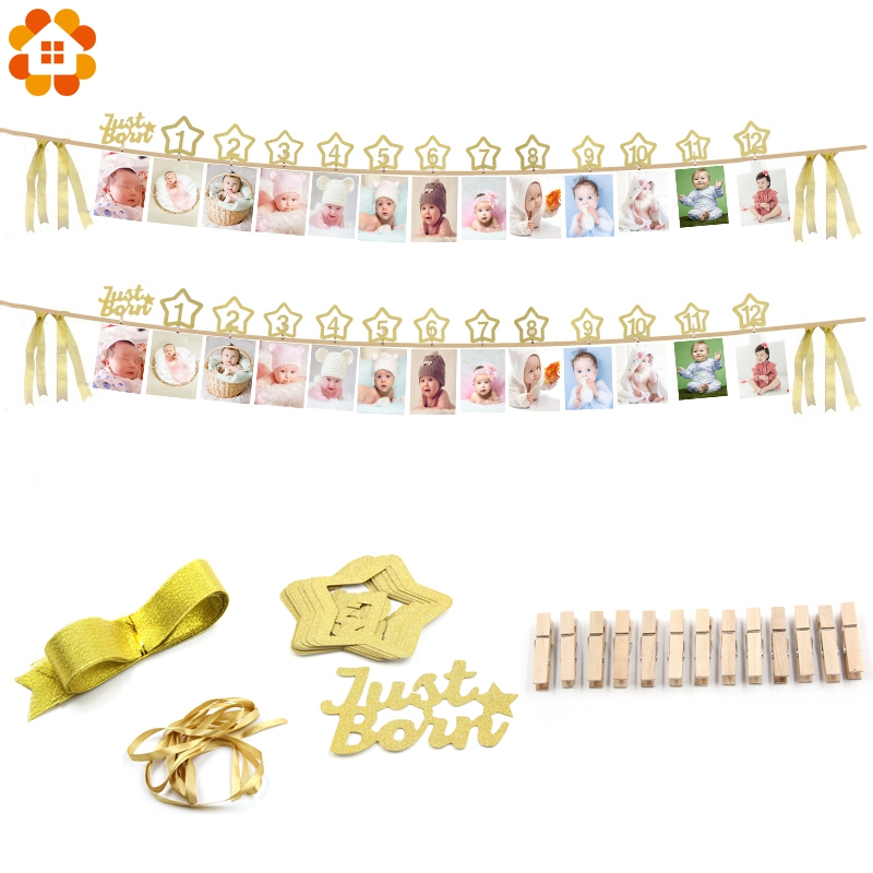 1Set Just Born &1-12 Months Gold Number DIY Photo Frame Banners Baby Shower Birthday Party Garlands Photo Booth Props Decoration