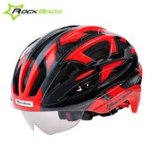 ROCKBROS 56-62cm Adjustable Cycling Bike Helmet With 3 Lenses Goggles EPS & PC Mountain Riding Bicycle Helmet with Sun Glasses