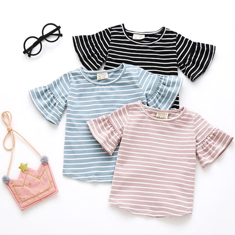 Summer Girls Butterfly Sleeve Casual T Shirt Striped O-Neck T-shirt Kid Girls Clothes Tee Shirts Tops Cute Toddler Sundress 0-4Y