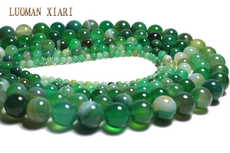 10 cuentas de cristal checo Verde Raya