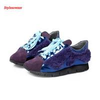 Stylesowner на толстом каблуке Женская обувь кожа корейской шерсть повседневная женская обувь плоской Кружево до лоскутное Sapatos femeninos