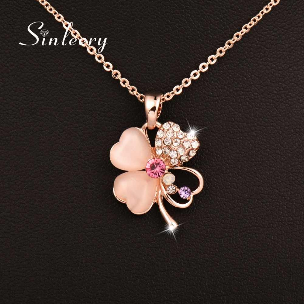 SINLEERY Charm Opal Flower Pendant Necklace Femme Sweet Pink Crystal Link Chain Rose Gold Color XL502