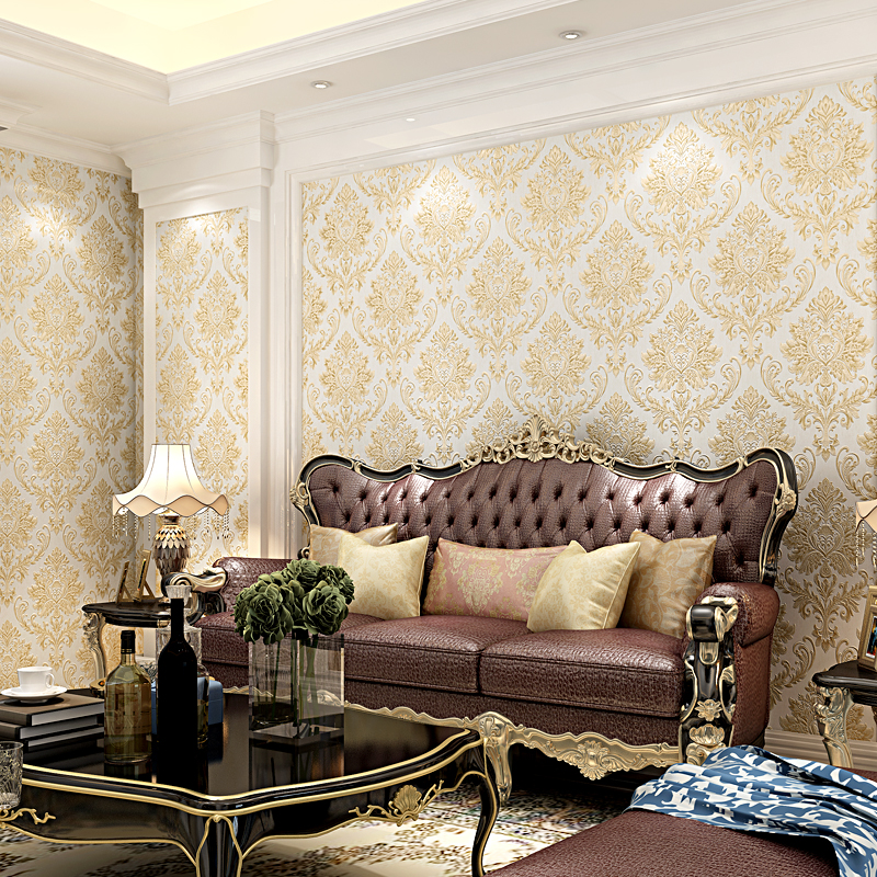 Luxury Damask Wallpaper Floral Carved Embossed Textured Wallpaper For Bedroom Walls Living Room Vertical Stripes Wallpaper creamy white living room bedroom damask wallpaper