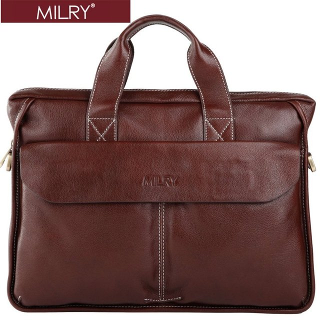 ecf8edea36 Hot sell MILRY 100% Genuine Leather Briefcase for men shoulder bag  messenger bag laptop bag real cow leather Brown CP0009-2