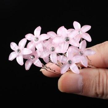 Wedding Crystal Resin Flower Hair pins For Silver Bridal Hair Accessories 1