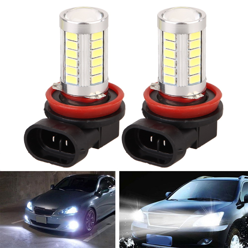 2Pcs LED Car Headlamp Fog Lamp H11 5630 33SMD Automobile Running Light Auto Light-emitting Diode Bulb Accessories