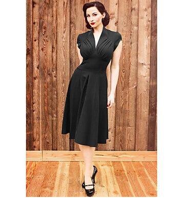 Classique et Traditionnel Hepburn Lolita Manches Moyen Longueur Noir Tergal Lolita Dress