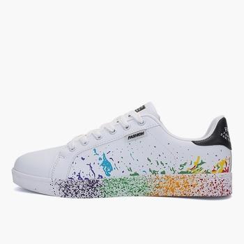 Women Flat Sneakers Lace up Colorful Graffiti Platform Female PU Flats Fashion Ladies Walking Vulcanized Shoes 2021 Spring New 12