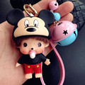 Fashion Mouse Head Monchichi Keychain Leather Rope Key Chain Luxury Auto Key Ring Cute Bells Llaveros Bag Charm Trinkets Pendant