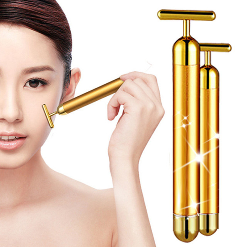 Face care 24K Gold Plated Vibration Facial Roller Massager Stick Face Lifting Vibrating Bar Electric thin face massager GI2352