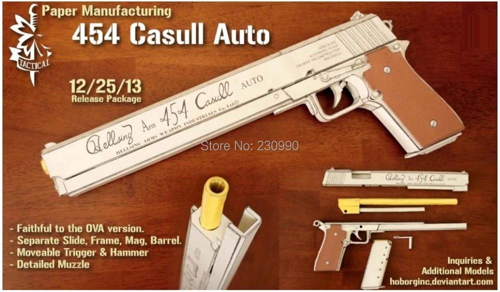 Struktura wewnętrzna Wampir Alcatel Hellsing 454 Casull Pistol Skala 1: 1 Model papieru 3D Dzieciak Broń pistoletowa Modele papierowe Zabawki