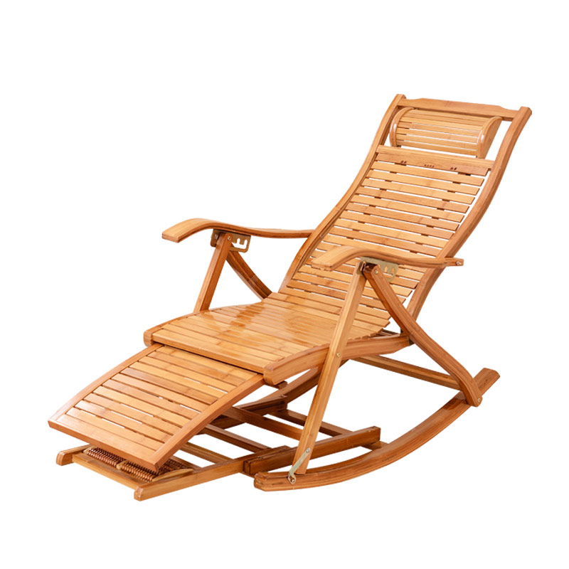 Modern Foldadble Bamboo Rocking Chair Recliner with Ottoman Indoor/Outdoor Lounge Deck Chair Bamboo Furniture Reclining Rocker