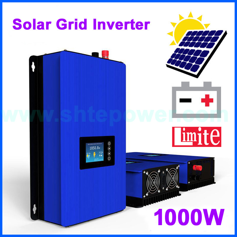 Solar power inverter grid tie system with limiter LCD display DC 24v 36v 48v 72v input to AC output 110v 120v 220v 230v 1000w new grid tie mppt solar power inverter 1000w 1000gtil2 lcd converter dc input to ac output dc 22 45v or 45 90v