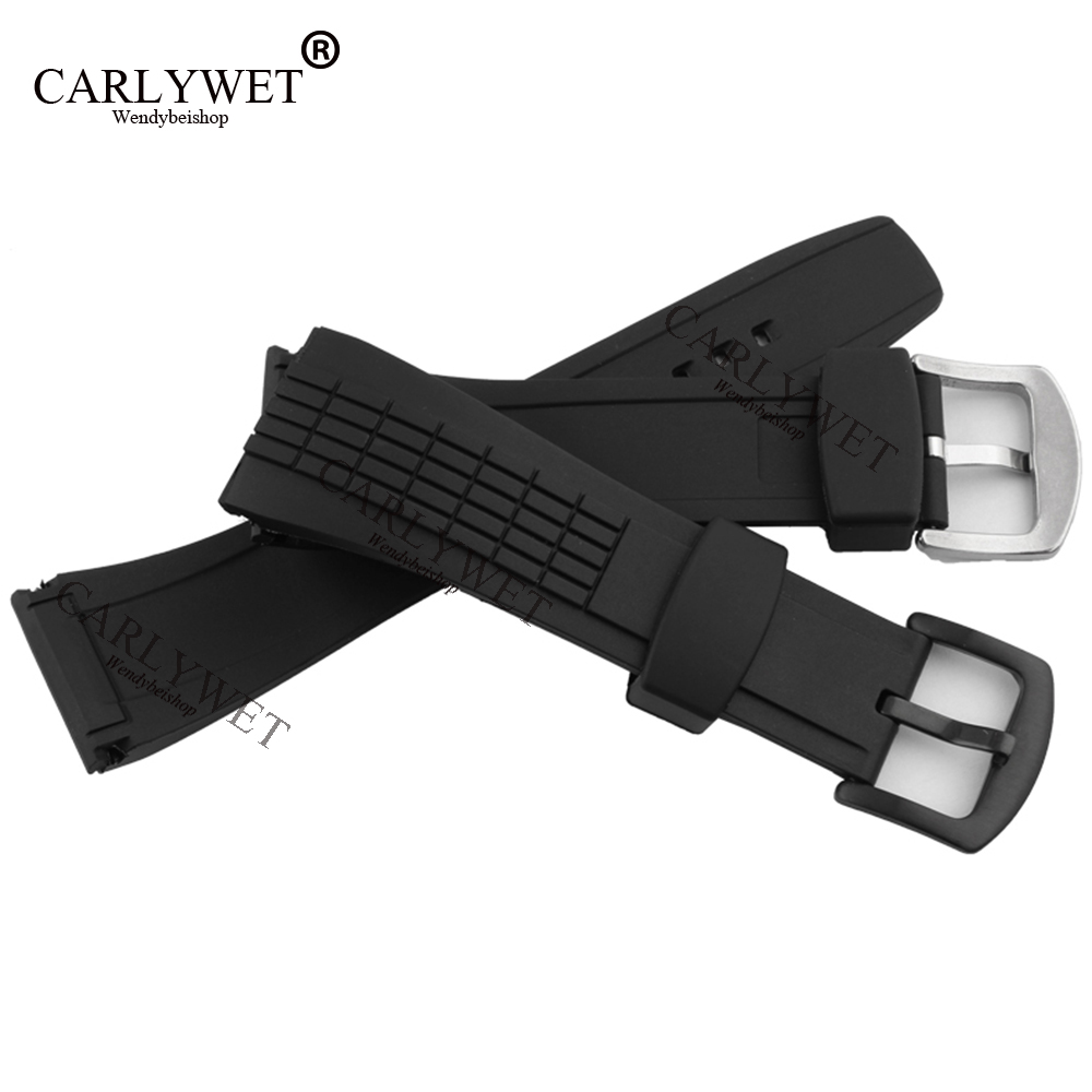 CARLYWET 26mm Black Strap Waterproof Rubber Replacement Watch Band Belt Special Popular with steel Buckle For 4LJ7KB carlywet 24mm men white waterproof silicone rubber replacement wrist watch band strap belt no buckle for panerai luminor