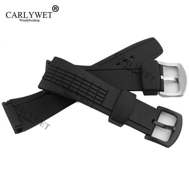 CARLYWET 26mm Black Strap Waterproof Rubber Replacement Watch Band Belt Special