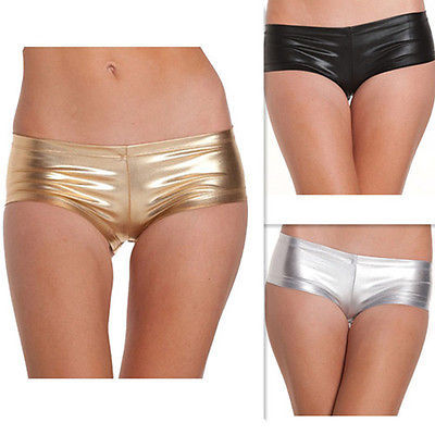 Women Ladies Shiny SEXY WET LOOK Mini Short Stretchy Hot short Tutu Metallic Dan