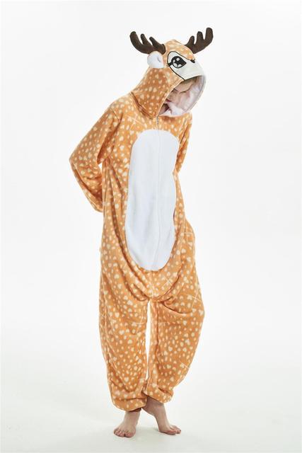 Кигуруми Новый пятнистый олень Комбинезоны для взрослых детей Пижама для  животных косплэй костюм пижамы панда Дракон 5731e502854d0