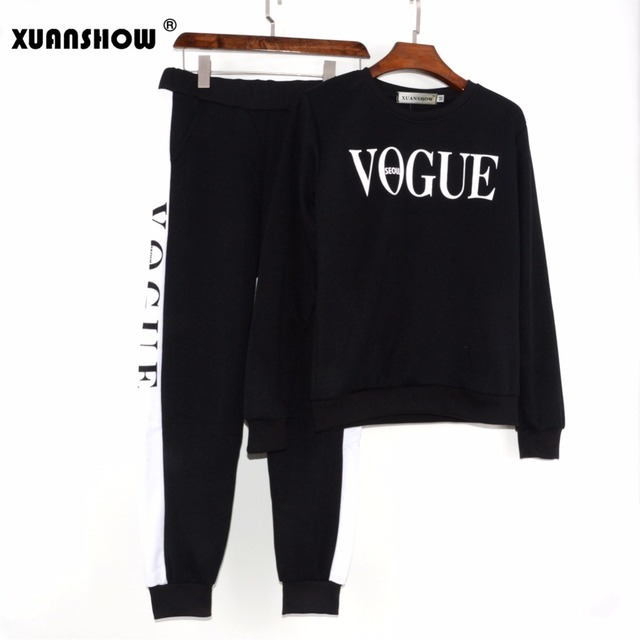 XUANSHOW Sonbahar Kış 2 Parça Set Kadın VOGUE Mektuplar Baskılı Sweatshirt + Pantolon Suit Eşofman Uzun Kollu Spor Kıyafeti