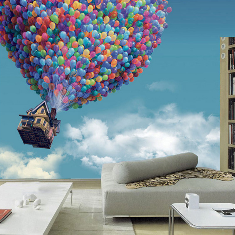 Large Mural Living Room Children's Bedroom Sofa Backdrop Customized 3D Photo Wallpaper Blue Sky Hot Air Balloon Wall Mural Paper