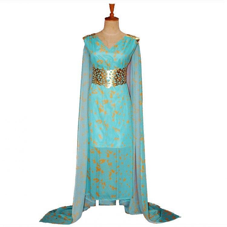 game of thrones daenerys targaryen costume blue cosplay dress fantasia dragon halloween costumes for women dress plus size