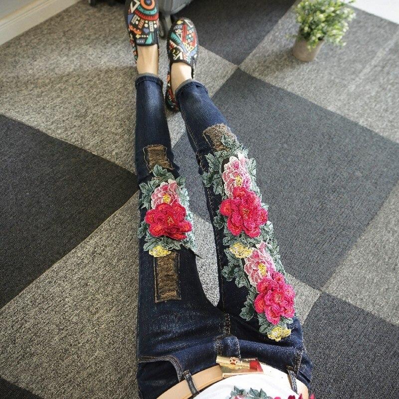 Indie Same Retro Floral Otoño Denim Mujeres Picture As Patchwork Para Superior Arrancó Nuevo Las Streetwear Pantalones De Mediados Cintura Pantalon Parte Bordado Folk Mujer dxRqqYp61w