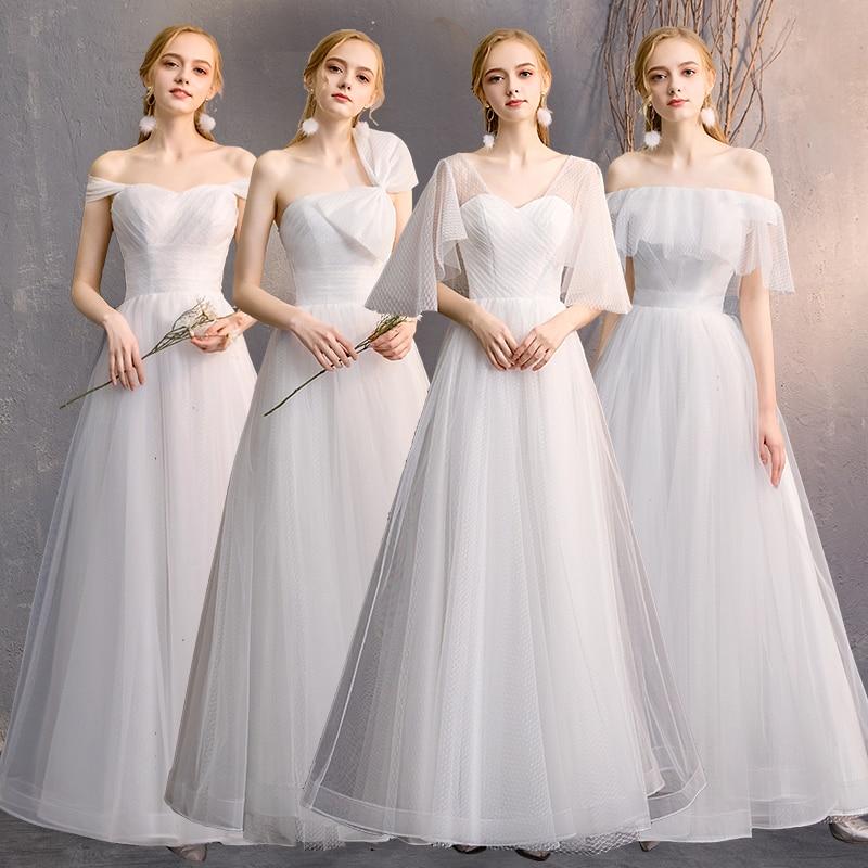 Bow decoration Bridesmaid's dress tulle Custom four style available a-line Bridesmaid Dresses for Wedding Party Vestido De Festa