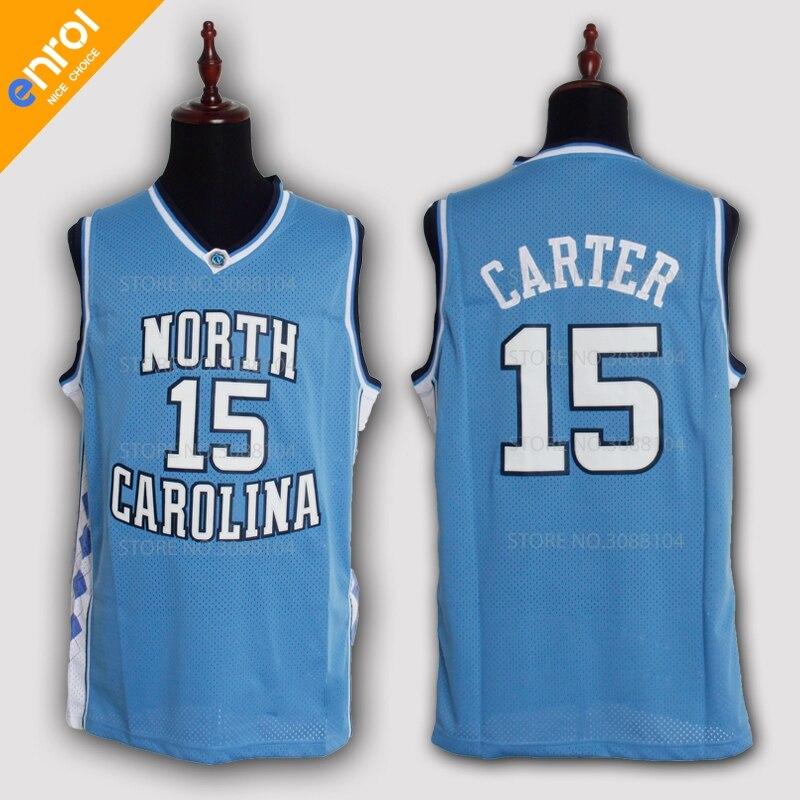 Günstige Retro Vince Carter Basketball Jersey 15 # North Carolina Throwback Genäht Stickerei Hohe Qualität Shirts Für Männer