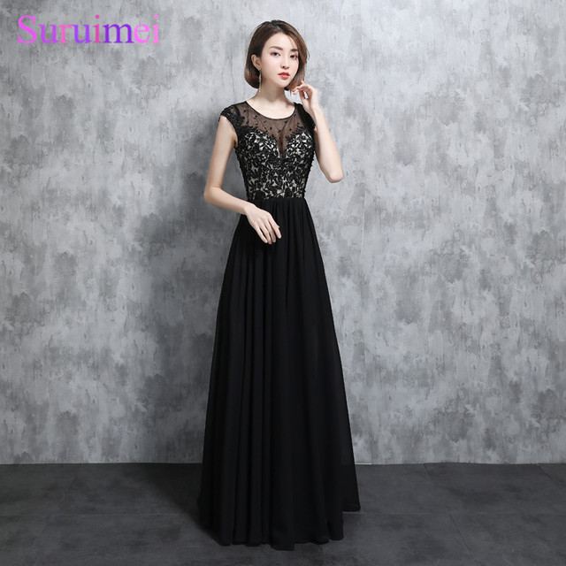 New Arrival Black White Elegant Bridesmaid Dresses Chiffon Short Cap Sleeves  Sexy Nude See Through Applique Long Brides Maid ab1903b96b20