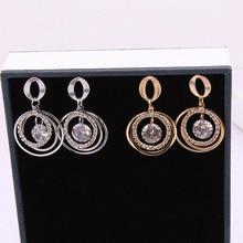 Luxury Korean Rhinestone Round Dangle Earrings for Women Geometric Circle Drop Earring Pendientes Brincos Ear Jewelry цена и фото