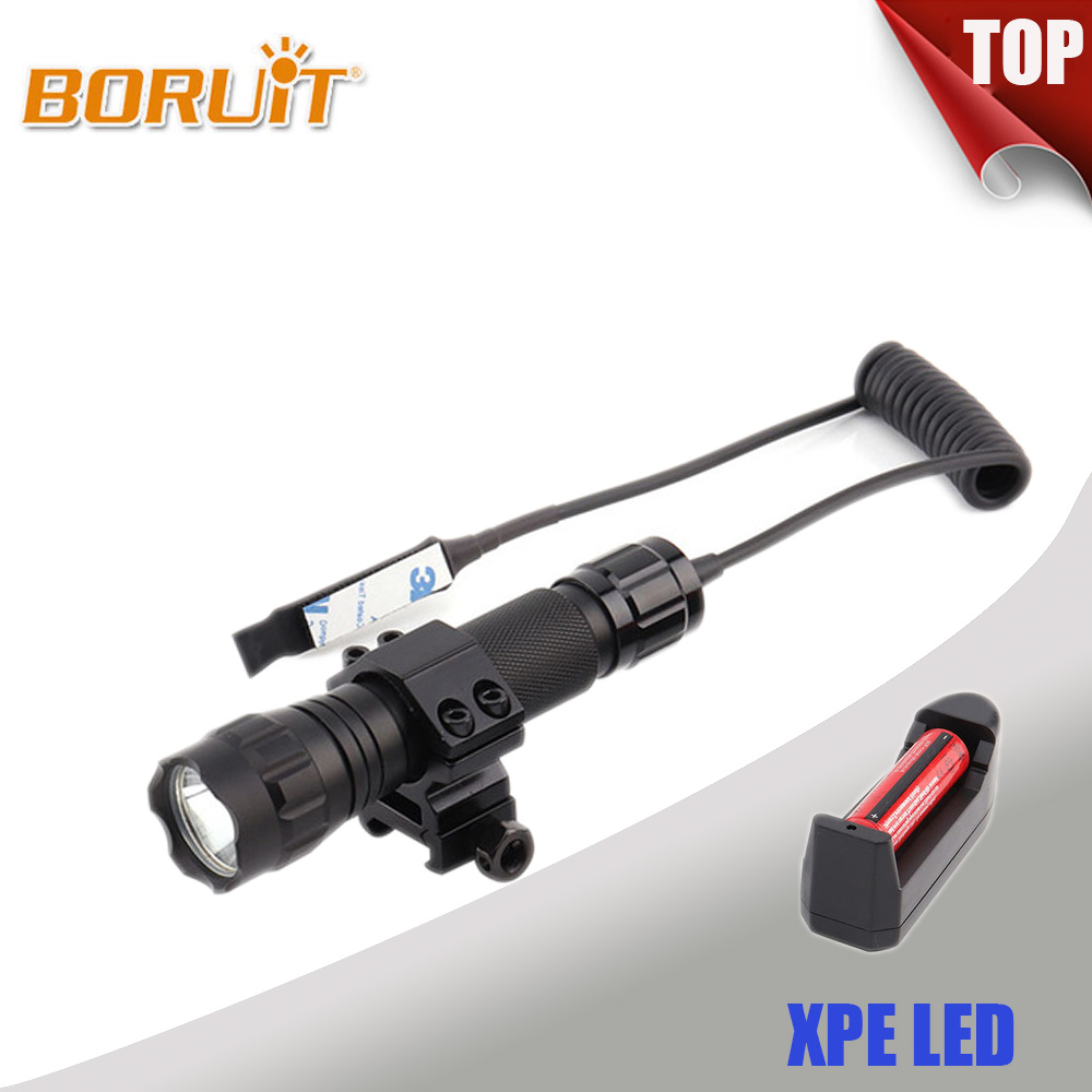 BORUIT 501B 3W 1000LM XPE LED Flashlight Red/White/Blue/Green/Purple Light Mini Torch Portable Light Gun Mount Remote Flash Lamp