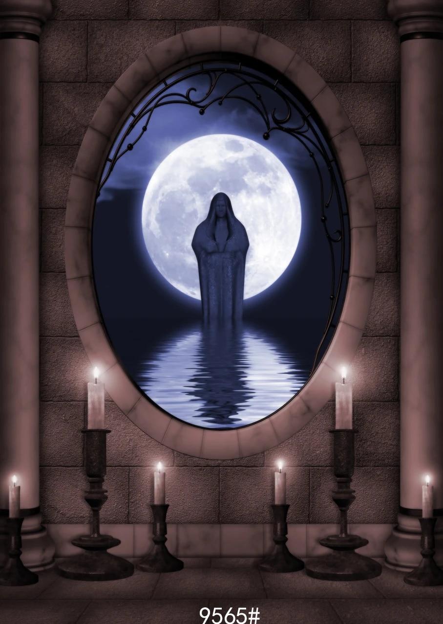 8X12FT-Halloween Candle Lighting Photography Backdrops Moon Photo Studio Background