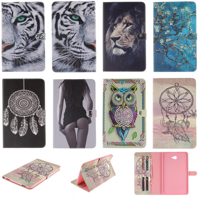 Fashion Cartoon Tiger Lion Pattern PU Leather Flip Case For Samsung Galaxy Tab A 10.1 (2016) T580 Back Cover With Card Holder
